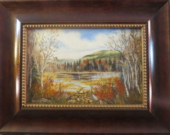 Zealand Falls Beaver Pond, Autmn Foliage, White Mountains New Hampshire Original Landscape Oil Painting