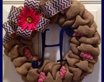 Spring Chevron Burlap Wreath with Initial- Front Door Wreath- Wedding Gift- Monogram Wreath- Easter Wreath
