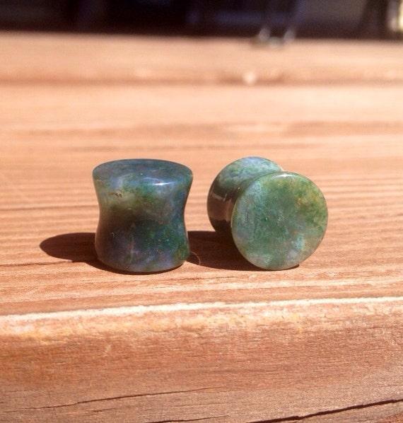 "Green Moss Agate Stone Plugs 8g 6g 4g 2g 0g 00g 1/2"""