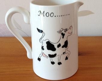 Hand Painted Ceramic Milk Jug - Moo Cow Design