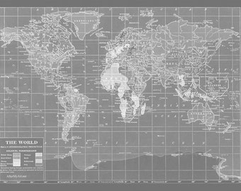 Map Fabric - map of the World - Minimalist Grey Version - Fat Quarter - sewing, crafting, quilting supplies, pillows, pinboard,