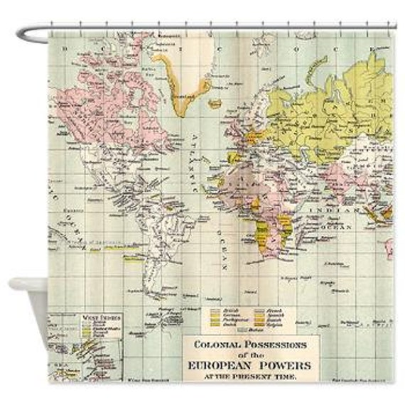World map shower curtain vintage colonial map home decor like this item gumiabroncs Image collections
