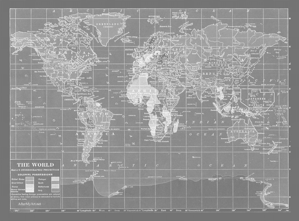 Map fabric map of the world minimalist grey version fat for Fabric world