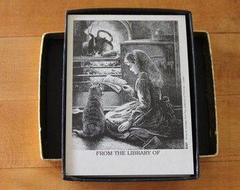 Vintage Antioch Bookplates, Girl with Cat