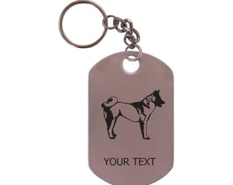 Personalized Engraved Akita Dog Stainless Steel Dog Tag Keychain
