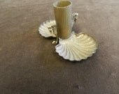 brass shell & seahorse  motif vanity ring tray dish with bud base