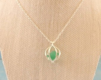 Sea Glass in a Cage Necklace