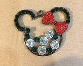 One(1) 48mm Minnie Mouse red, clear and green (Christmas) Rhinestone pendant