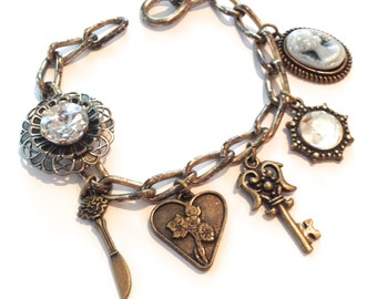 Vintage Repurposed Heirloom Rhinestone Charm Bracelet