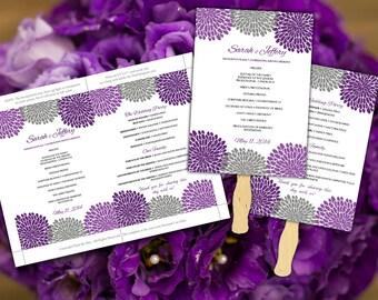Wedding Fan Amethyst Purple Grey Chrysanthemum Microsoft Word Template