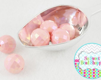 20mm Faceted AB Acrylic Beads 6ct, Light Peachy Pink, Chunky Beads, Aurora Borealis, Round