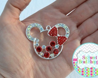 Minnie Mouse Rhinestone Pendant, Red & Clear AB, 47x38mm