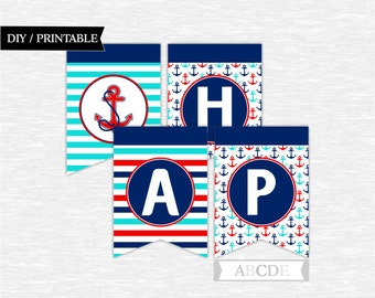 Instant Download Happy Birthday Banner Nautical Birthday Party DIY Printable (PDN040)