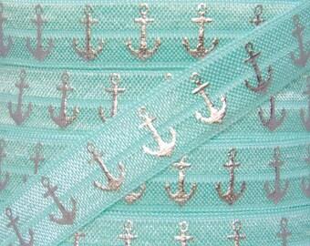 Aqua and Silver Metallic Anchor Print Fold Over Elastic - Elastic for Baby Headbands and Hair Ties - 5 Yards 5/8 inch Printed FOE