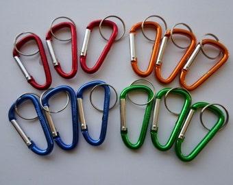 Lot (12) Carabiner Clips ~ Spring Belt Snap Key Chain ~ Keyring Key Ring**