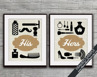 His And Hers Bathroom Prints Set Of 2 Art Prints Featured In Brown