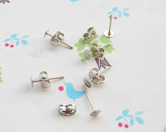 100 pcs  Nickel Free Surgical Steel Stud Earnuts and 4mm Flat Pads,White K Earring Posts with Back Stoppers