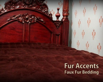 FUR ACCENTS Faux Fur Bedspread / Comforter /  Sable Brown Ribbed Mink
