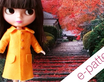 Blythe  - felt coat pattern and tutorial PDF