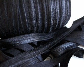 Black FOE - 1 Yard 5/8 Fold Over Elastic - Foldover Elastic - Solid FOE- Elastic by the yard - Shiny Elastic - DIY