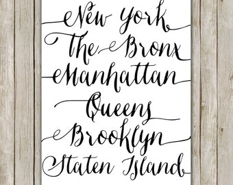 8x10 New York Print, New York City Printable, Typography Art, I Heart NY Poster, Home Decor, Typography Print, Instant Digital Download