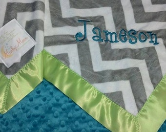 FREE SHIPPING Personalized Baby Blanket with Gray amd White Chevron Zig Zags