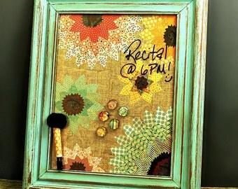 FREE SHIPPING, Dry Erase Board, Framed Magnetic Board, Flowers, Magnet Memo Board, Bedroom, Rustic, Dorm, Organizer, Chalkboard, Pastels