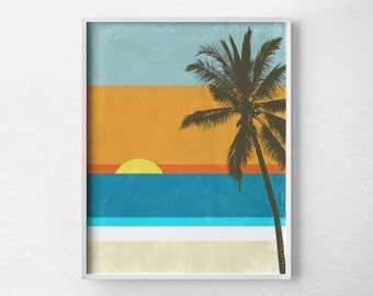 Beach Decor, Beach Print, Beach Poster, Wall Art, Beach Art, Modern Beach Art, Beach Sign, Sunset Print, Tropical Beach Art, 0222