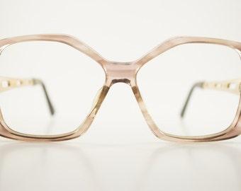 Vintage Eyeglass Frame | Translucent Smoky Grey | Oversize Glasses - Mist