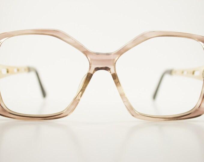 70s Vintage Eyeglass Frame | Clear Smoky Grey Oversized Glasses | 1970s NOS Geometric Eyeglasses | Vintage Deadstock Eyewear - Mist