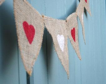 Valentines Heart Burlap Bunting Alternate Colours