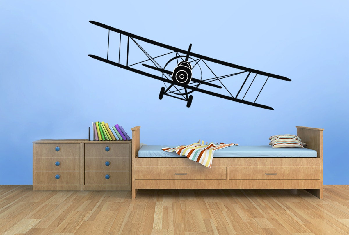 Sale biplane vinyl decal airplane wall decal graphics choose for Aeroplane wall mural