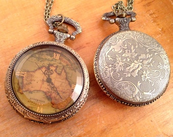 1 Pc Large Vintage Style Map Pocket Watch Necklace Amber Glass Jewel Door Pocketwatch CHAIN & BATTERY INCLUDED