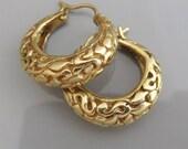 14 k Gold Hoop Earrings ,  Gypsy Gold Earrings , Solid Gold Earrings , Large Hoop Earrings , Wide Gold Earrings , Wide Gold Hoops Earrings