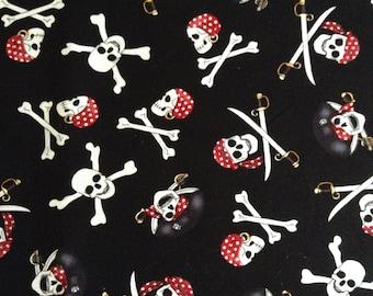 One Half Yard of Fabric Material Pirate Skull and Crossbones