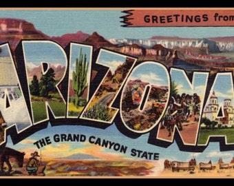 Arizona Fridge Magnet vintage Large Letter post card image The Grand Canyon State