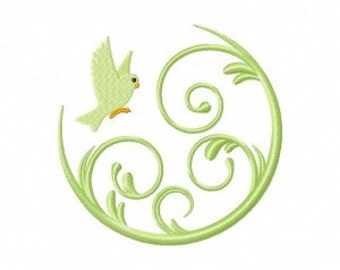 Bird Flying In Swirl Machine Embroidery Design