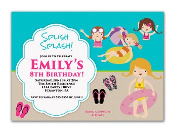 Swim Party Invitation Girls Birthday Party Invitation Kids Beach Summer Pool Party Invite Chevron Printable Personalized JPG File 96c