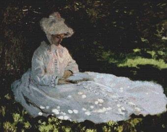 A Woman Reading PDF Cross Stitch Pattern