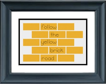 Follow the Yellow Brick Road - Wizard of Oz - Wicked - PDF Cross-Stitch Pattern