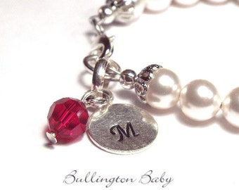 Baby Bracelet, Girls Bracelet, Initial and Birthstone Bracelet,, Baby Pearls, Baby Jewelry, Girls Jewelry, Initial  Bracelet, (B43)