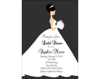Bridal Invitation   Wedding Invitation  Wedding Shower bridal shower invitation  printable, black and white dress printable