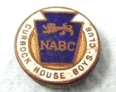 FREE POST - Vintage Enamelled Button Badge, Currock House Boys Club, NABC, Interesting Small Badge, Collectible Piece, Old