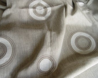 Natural linen  tablecloth with appliqued circles, natural linen tablecloth, eco friendly