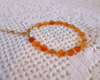 gold plated silver bracelet with orange carnelian