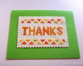 Thanks Cross-Stitch Greeting Card - Embroidered Greeting Card