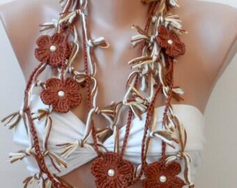 Bohemian Crazy scarf Chocolate cotton scarf summer scarf elegancescarf crochet flower lariats Boho fashion fiber necklace Gypsy Scarf Gifts