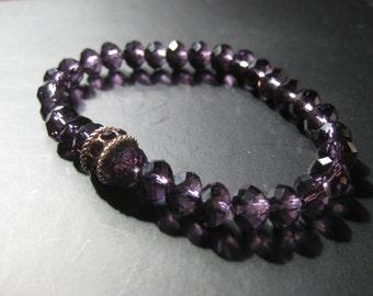 Purple crystal charm style bracelet