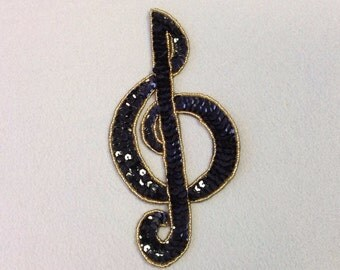 Sequin Music Note Appliqué - treble clef