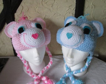 Crochet teddy bear hat, prices vary, please see full listing for details
